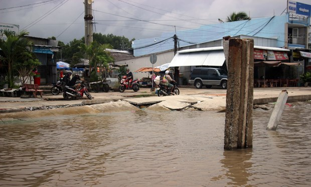Erosion in Ca Mau province is so serious that even the anti-erosion structure for the area of Dat Mui Market in Ngoc Hien district has been damaged (Photo: VNA)