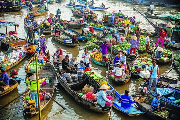 Cai Rang floating market in Can Tho city (Source: dulichvn.org.vn)