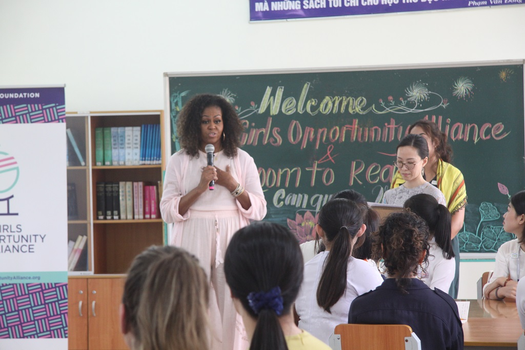 Mrs. Michelle Obama is eager to listen to the girls' stories